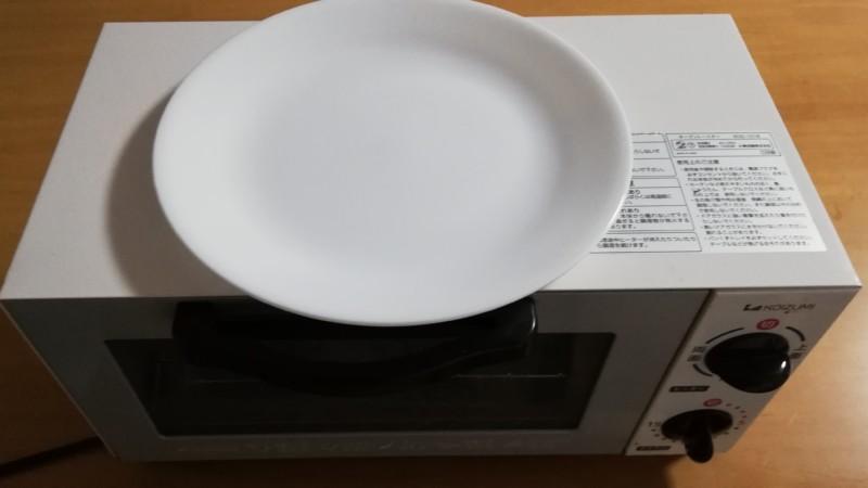 トースターの上で皿を温める