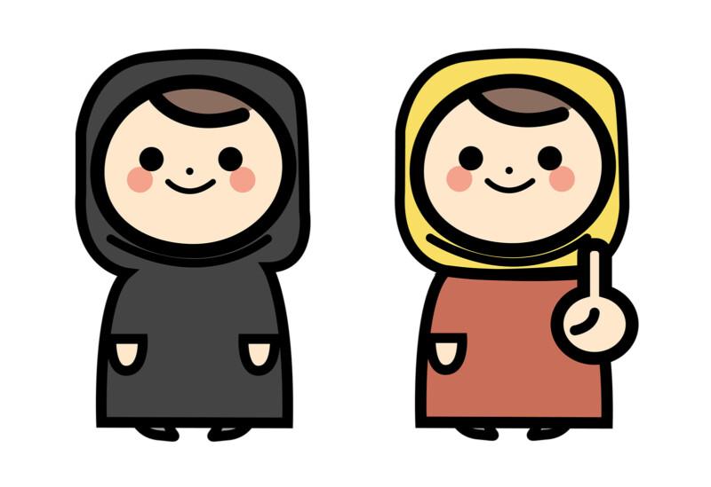 イスラム女性二人